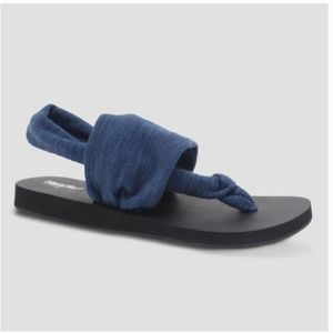 Blue Dara Soft Slingback Thong Sandal